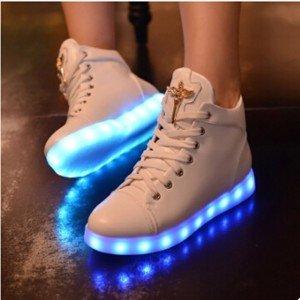 Femmes-haute-Top-baskets-lumineuses-coins-blanc-brillant-chaussures-Casual-Marant-sport-Run-chaussures-plate-forme